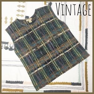 [Vintage] Autumn Hippie Plaid Stretchy Ribbed Top